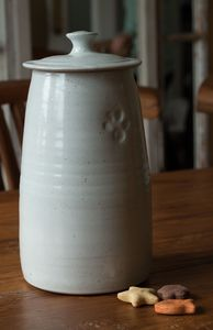 Pottery Dog Treat Jar