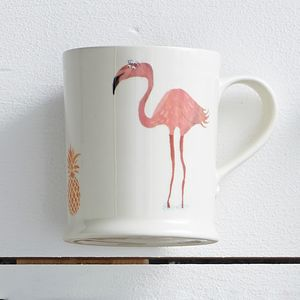 Illustrated Flamingo And Pineapple Mug