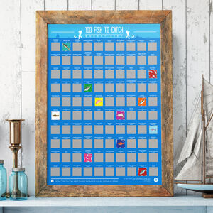 100 Fish To Catch Bucket List Scratch Off Poster