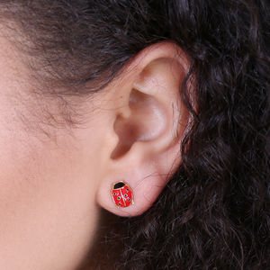 Red Ladybird Stud Earrings