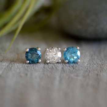 Topaz Stud Earrings, November Birthstone Ear Studs