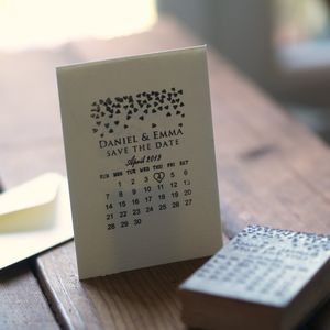 Personalised Calendar Hearts Save The Date Stamp - wedding favours