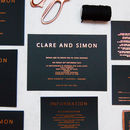 Rose Gold And Black Copper Foil Wedding Invitation