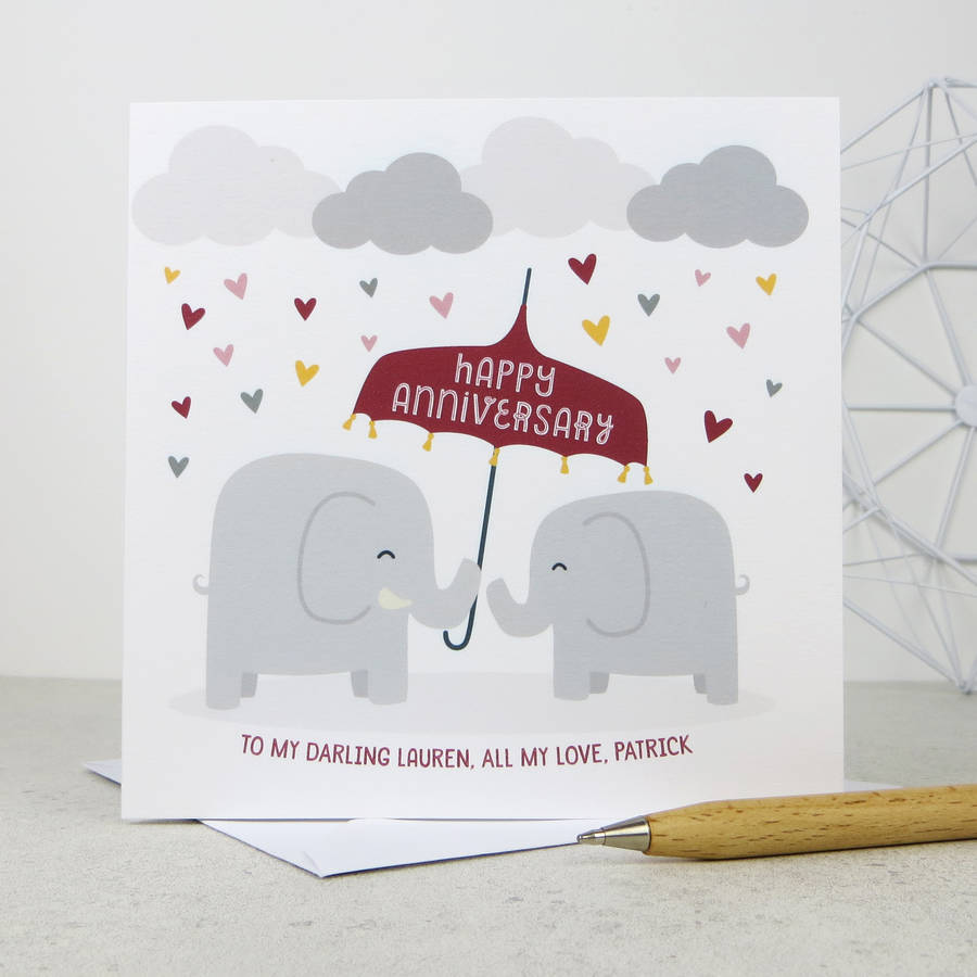 anniversary elephants personalised anniversary card by wink design – Elephant Valentines Card