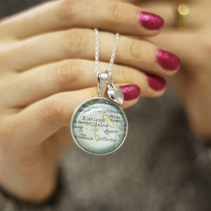 Personalised Map Location Pendant Necklace Gift For Her