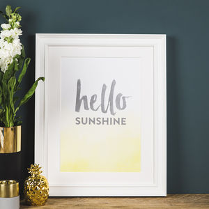'Hello Sunshine' Inspirational Poster Print - children's pictures & paintings