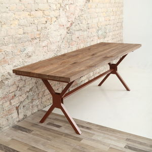 Rough Oak X Shaped Legs Industrial Dining Table - dining tables