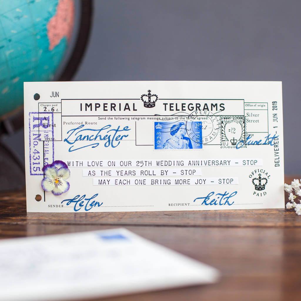 Wedding Anniversary Telegram Keepsake wedding anniversary telegram