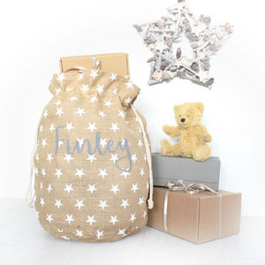 Luxury Personalised Christmas Sack With Star Print - baby & child sale