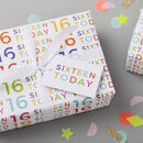 16th Birthday Wrapping Paper Set