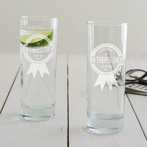 Personalised First Father's Day Hi Ball Glass - glassware