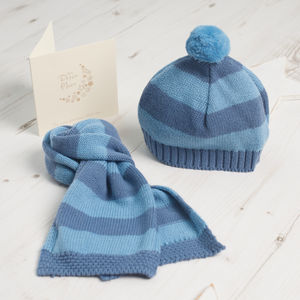 Baby Boy Striped Bobble Hat And Scarf Gift Set