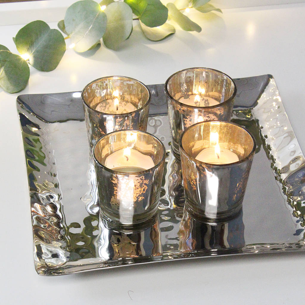 Silver Glass T Lights On Tray Centrepiece