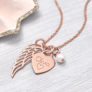 Personalised Rose Gold Heart And Angel Wing Necklace