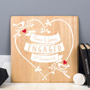 Personalised Engagement Love Birds Wooden Print