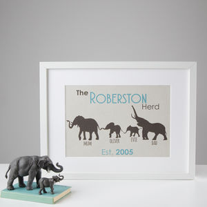 Personalised Elephant Family Print - children's pictures & paintings