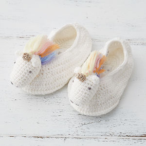 Rainbow Unicorn Baby Booties