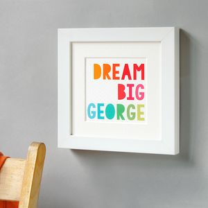 Personalised Dream Big Framed Print - nursery pictures & prints