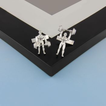 Weightlifter Cufflinks In Sterling Silver