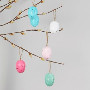 Set Of 12 Speckled Egg Decorations