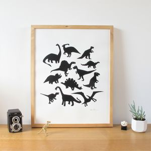 Dinosaur Screen Print Poster - new lines added
