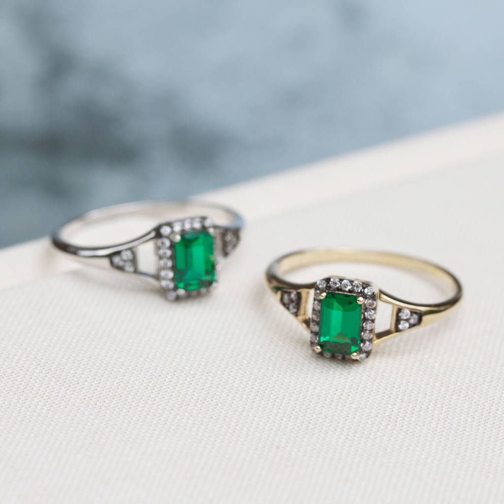 Emerald Rectangle Cluster Ring In Silver Or Gold