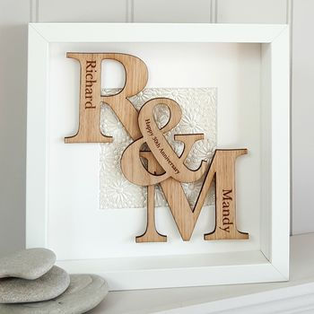 30th Pearl Wedding Anniversary Oak Initials Artwork
