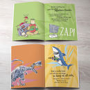 childrens bespoke story book with sharks, super heroes and dinosaurs
