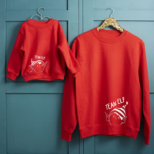 'Team Elf' Parent And Child Christmas Jumper Set - the elf collection