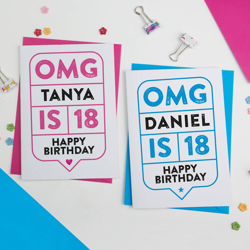 Omg 18th birthday card personalised by a is for alphabet omg 18th birthday card personalised bookmarktalkfo Images