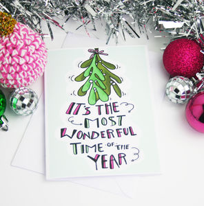 Mistletoe And Hand Lettered Christmas Card - cards