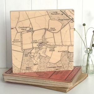 Personalised Map Timber Artwork - special work anniversary gifts