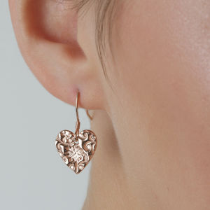 Rose Gold Vermeil Floral Heart Drop Earrings