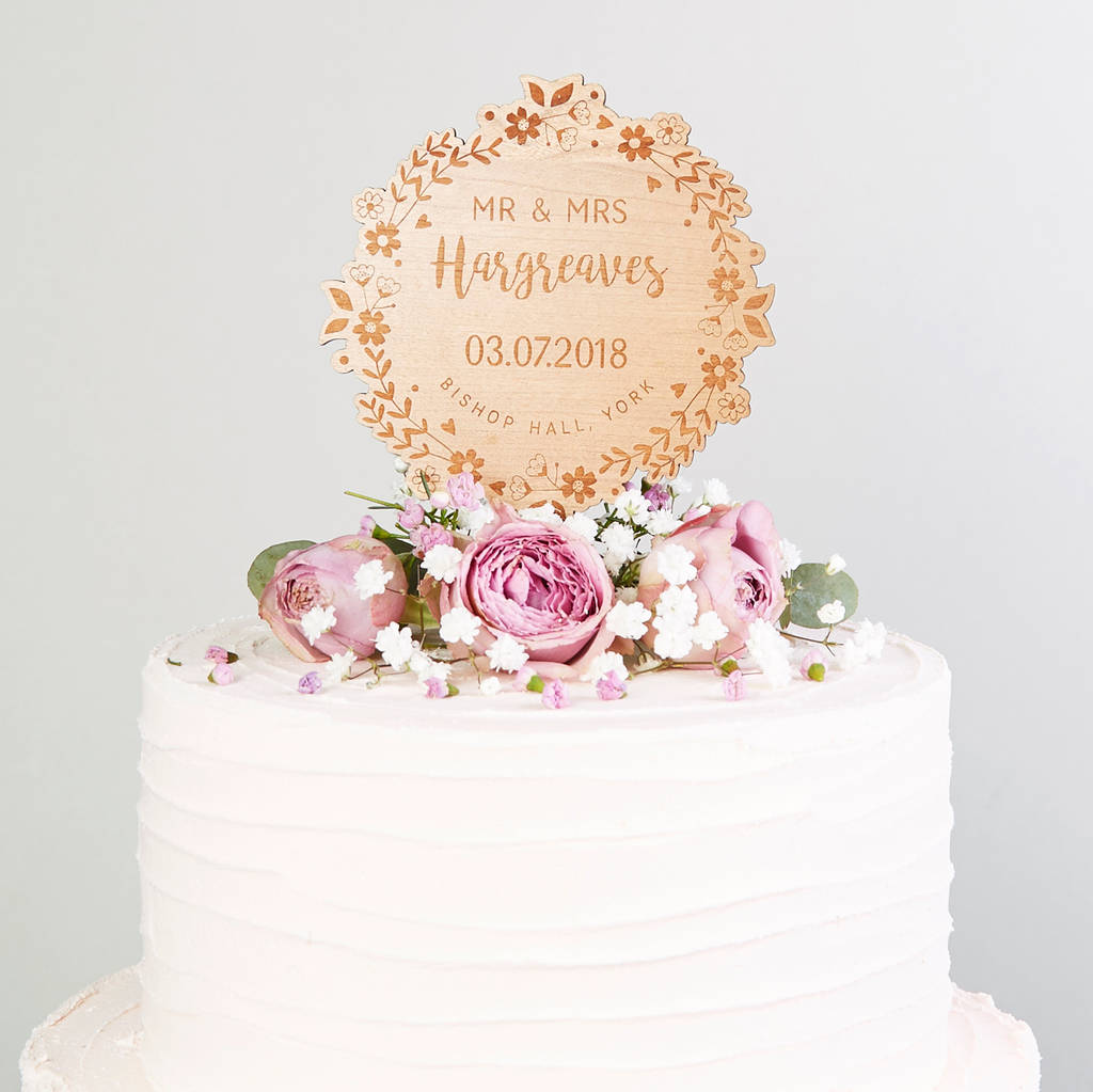 Wedding Cake Topper Wooden Floral Wreath