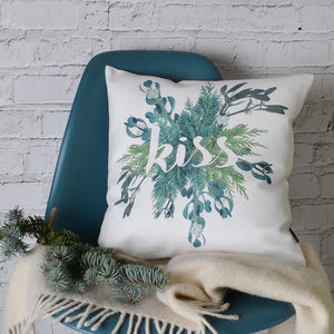 'Kiss' Christmas Cushion Cover - christmas decorations