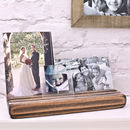 Beech Wood Personalised Photo Block on Mantelpiece