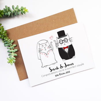 Mr And Mrs Personalised Cat Wedding Card