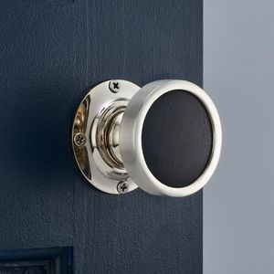 Contemporary Internal Black Leather Mortice Door Knob