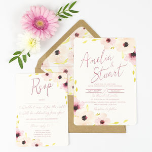 Floral Wedding Invitation And RSVP - wedding stationery