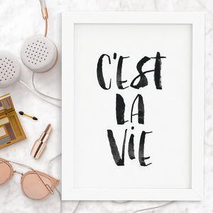'C'est La Vie' Watercolour Typography Print