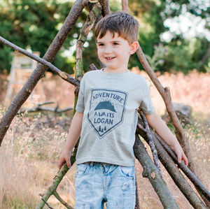 Personalised Adventure Awaits T Shirt - for little adventurers