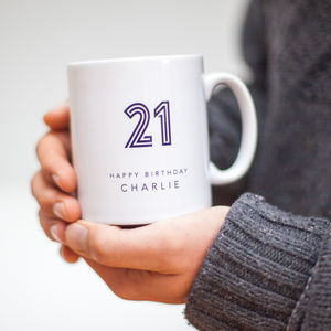 21st Birthday Mug With Personalised Name