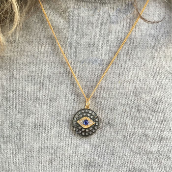 Sparkling Diamond And Sapphire Evil Eye Necklace