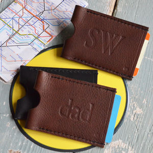 Personalised Dad Leather Travel Card Wallet