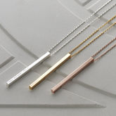 Personalised Shiny Vertical Bar Necklace - valentine's day