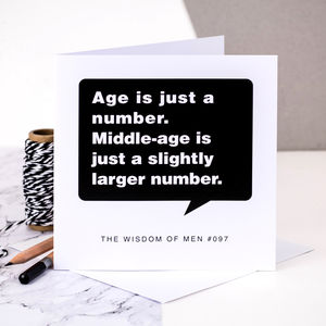 Birthday Card For Men; 'Age Is Just A Number' - birthday cards