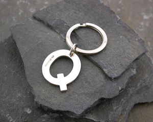 Alphabet Key Ring Personal Initial In Sterling Silver