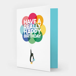 'Mr Penguin Balloon' Birthday Card - birthday cards