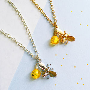 Bee And Amber Charm Necklace