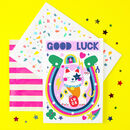 Good Luck Cat Colourful Greeting Card
